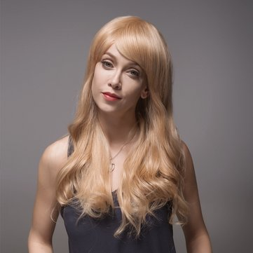 8 Colors Remy Mono Blonde Human Hair Wig Side Bang Long Virgin Top Capless 60cm
