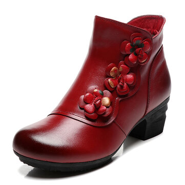 Retro Casual Genuine Leather Ankle Boots
