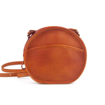 Women Genuine Leather Retro Round Crossbody Bag Shoulder Bag