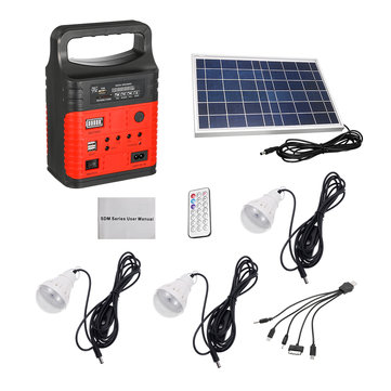 7500mAh Emergency LED MP3 FM Solar Panel Power Lighting Charging Powered System