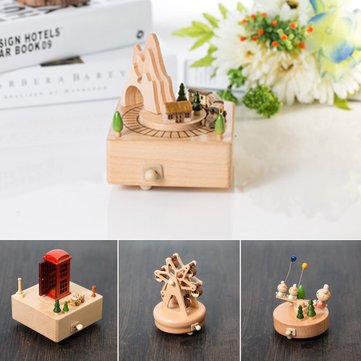 Wooden Music Box Clockwork Musical Children Birthday Party Gifts Kids Toys