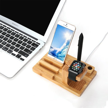 Bamboo Wooden Desktop Charging Platform Stand Bracket For Apple Watch iPhone 6S Plus Pen