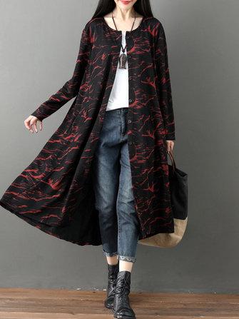Women Vintage Printed Long Sleeve Loose Outerwear Cardigans