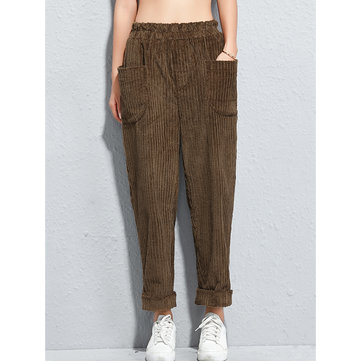 Women Pure Color Pocket Elastic Waist Corduroy Pants