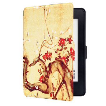 ABS Plastic Ink Wintersweet Painted Smart Sleep Protective Cover Case For Kindle Paperwhite 1/2/3 eBook Reader