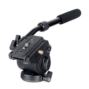 XILETU LS-4 Fluid Drag Hydraulic Tripod Head Ball Head with Quick Release Plate Handgrip For ARCA-SWISS Manfrotto