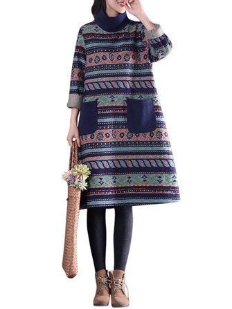 O-Newe Vintage Women Geometric Printed Turtleneck Dress