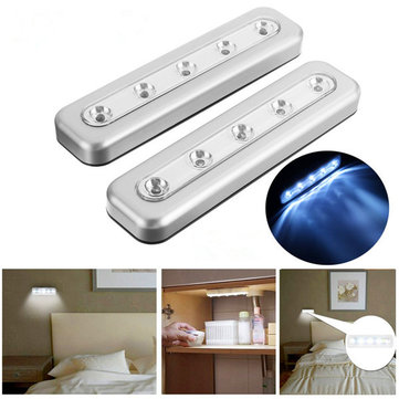 2Pcs Battery powered 5 LED Tap Push Night Light Self Adhesive Stick Lamp for Cabinet Kitchen Bedroom