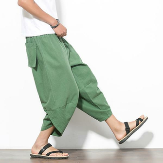 Mens Summer Loose Radish Trousers Breathable Haren Wide Leg Pants Casual Calf-Length Pants