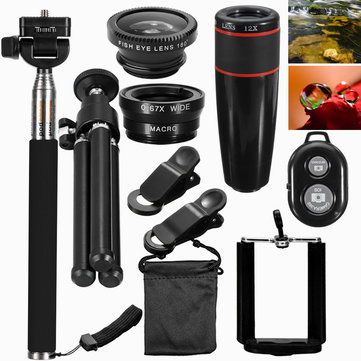 Universal Travel Set All-in-one 12X 3 In 1 Lens+Telescope + Tripod + Clip + Remote Control for Phone