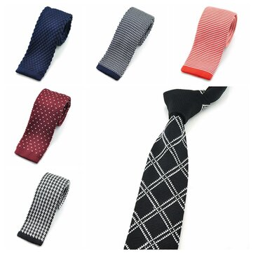 PenSee Men's Neckties Casual Stripe Plaids Skinny Knit Unisex Polyester Tie