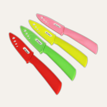 4 Inch Multicolor Ceramic Vegetables Fruit Knife Curved Shank Kitchen Tool