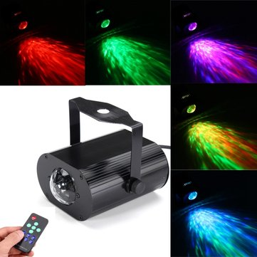 6W RGB Remote LED Water Wave Stage Light Disco Party Projector AC85-265V