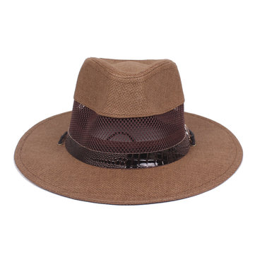 Men Summer Breathable Mesh Western Cowboy Hat Wide Brim Sunscreen Jazz Hat