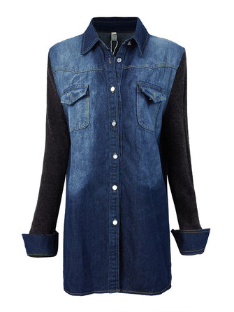 Casual Knit Patchwork Long Women Single Breasted Lapel Denim Jacket