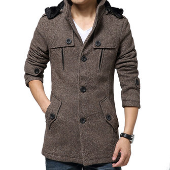Business Casual Thick Woolen Windbreaker Hooded Trench Coat