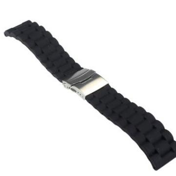 24MM Waterproof Folding Buckle Strap Rubber Silicone Watch Band