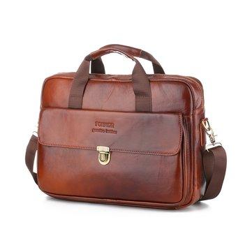 Men Leather Business Bag Briefcase Outdoor Waterproof Shoulder Messenger Handbag 14Inch Laptop Tote