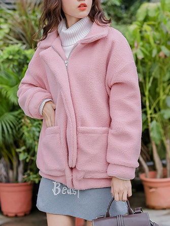 Women Fluffy Pink Fleece Long Sleeve Zipper Pockets Coats