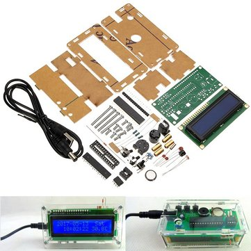 LCD 1602 DC 5V DIY Electronic Clock Kit Temperature Alarm Function With Acrylic Shell