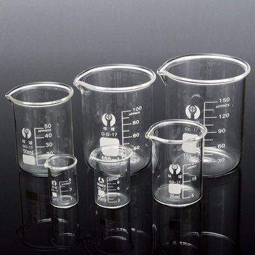 6Pcs Borosilicate Glass Beaker Volumetric Glassware For Laboratory