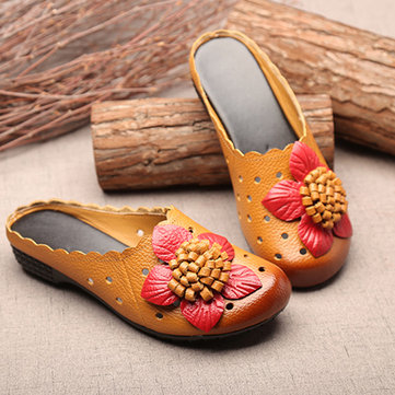 SOCOFY Leather Floral Slipper