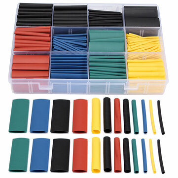 530 PCS Halogen-Free 2:1 Heat Shrink Tubing Wire Cable Sleeving Wrap Wire Kit 8Size 5Color