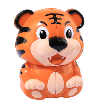 Tiger Second Order Fidget Magic Cube Cute Cartoon Shape Brown Speed Puzzle For Kids Educational Toys