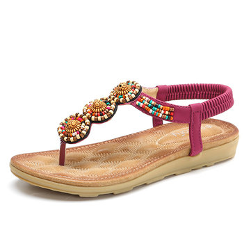 SOCOFY Bohemian Beaded Beach Women Flat Sandals