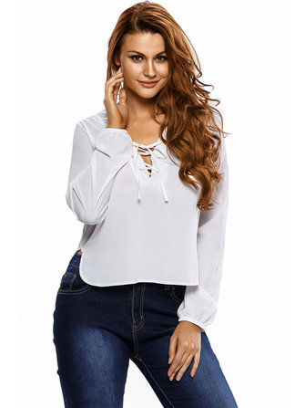Casual Women Lace Up V-Neck Long Sleeve Pure Color Side Split Blouse