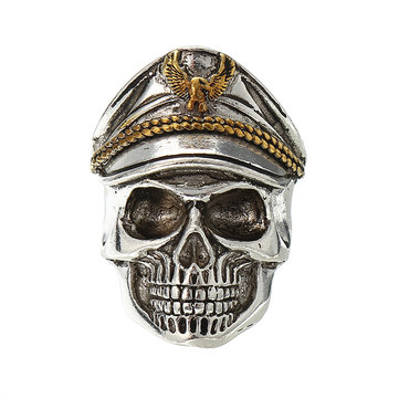 Cool Skull Head Adjustable Finger Ring Vintage Double Eagle Ring for Men