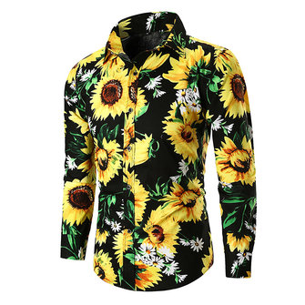 Mens Cotton Flower Printing Casual Shirts