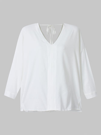 Sexy Loose Women V Neck Backless White Chiffon T-Shirt