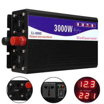 3000W 12V/24V/48V to 220V Pure Sine Wave Power Inverter Home Converter