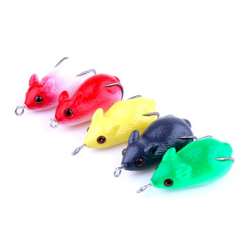 FO0125B 5Pcs/Set 5CM 8.5G 3D Eye Rubber Mouse Frog Lure Fishing Lure Topwater Artificial Soft Bait