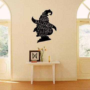 할로윈 마녀 헤드 쇼케이스 유리 창 장식 벽 스티커 파티 집 홈 인테리어 크리 에이 티브 전사 술 DIY 벽화 아트 스티커