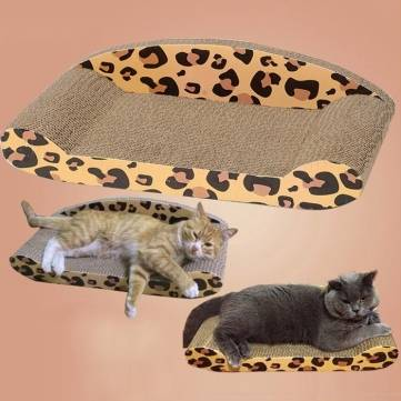 Pet Cat Leopard Corrugated Scratching Board Sofa Bed