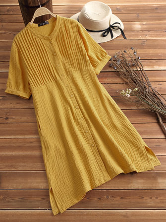 Women Plus Size Vintage Pleated Long Shirts with Button