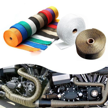 1.5mm*25mm* 5m Motorcycle Heat Resistant 2000F Exhaust Wrap + 4 Stainless Steel Ties