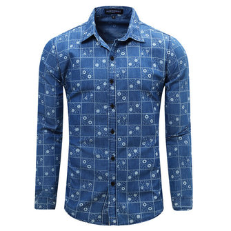 Spring Autumn Denim Printing Grid Long-sleeved Turn-down Collar Casual Men Shirt