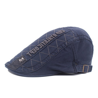 Mens Letter Embroidery Cotton Beret Cap Outdoor Cap