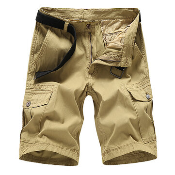 Men's Casual Cotton Solid Color Overalls Summer Multi-pocket Knee Length Cargo Shorts Pants