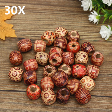 16mm Wooden Exotic Dreadlock Beads Assorted/Mixed Patterned Wood Bead 30Pcs