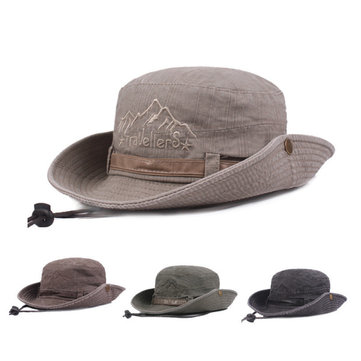 Unisexe Mens Cotton Washer Visor Fisherman Hat Outdoor Escalade Travel Sunscreen Bucket Hats