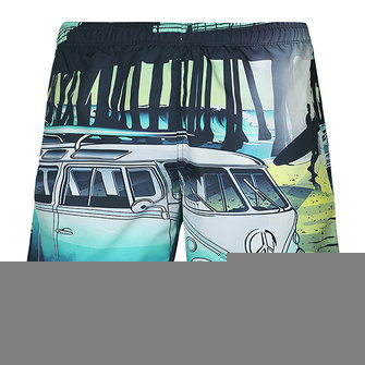 Mens Fashion 3D Bus Printing Board Quick Drying Beach Shorts