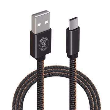 Hat Price 2.4A Type C 3.28ft/1m Jeans Fabric Charging Data Cable for Xiaomi Huawei Meizu Letv