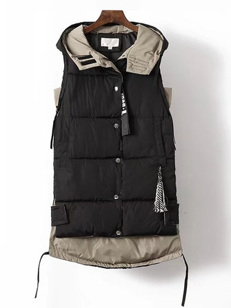 Plus Size Women Cotton Hoodie Waistcoat