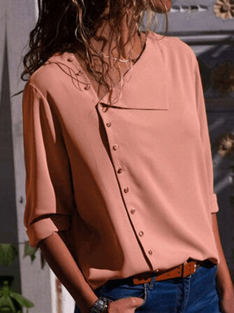 Women Long Sleeve Button Down Loose Casual Basic Blouse