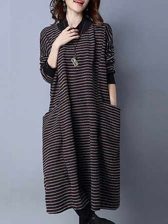 Casual Stripe met lange mouwen Loose Pocket Vrouwen Maxi Dress