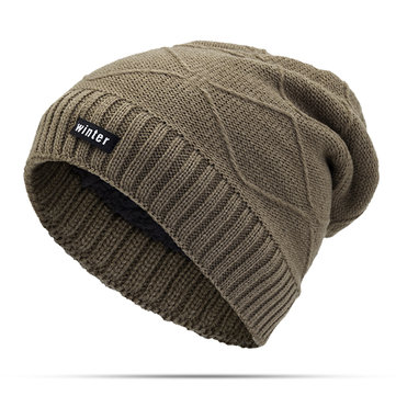 Unisex Winter Warm Thickened Velvet Liner Baggy Knitted Hat